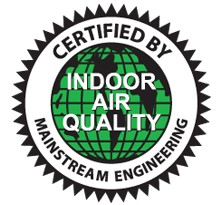 CERTIFIED BY MAINSTREAM ENGINEERING INDOOR AIR QUALITY 마크